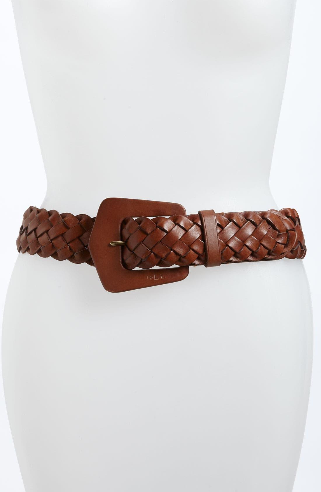 Alternate Image 1 Selected - Lauren Ralph Lauren Woven Leather Belt