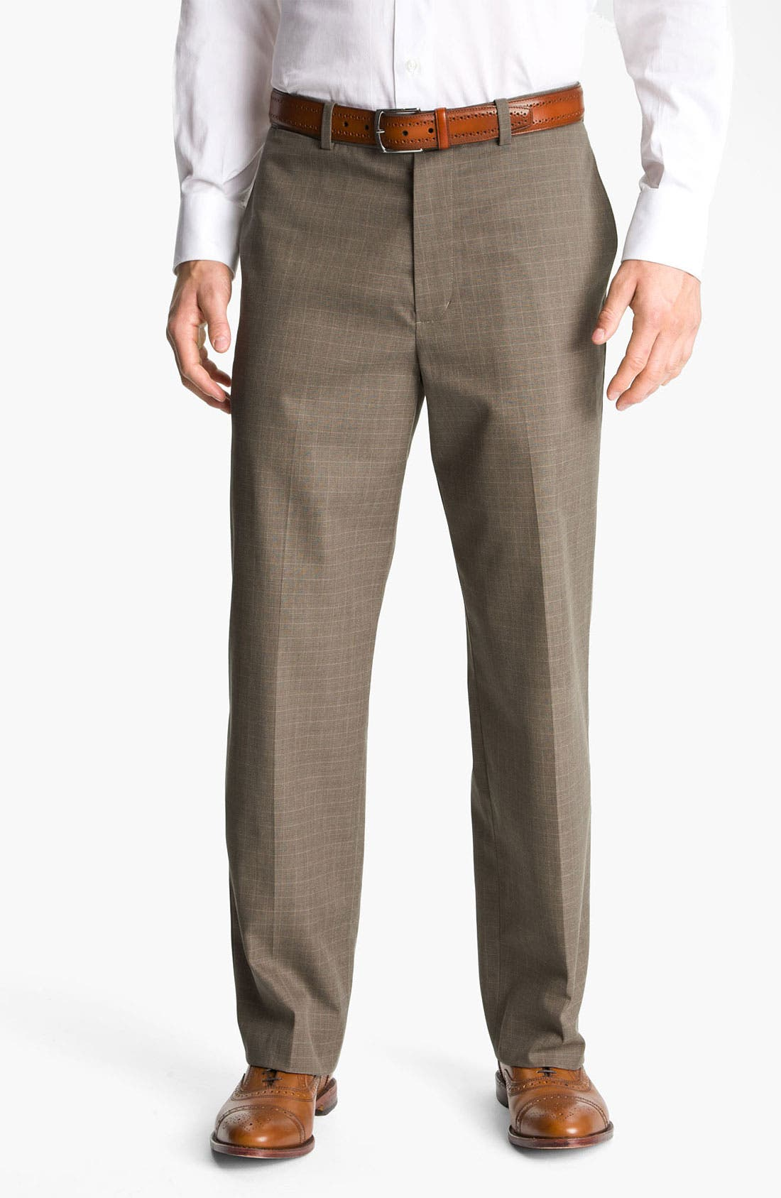 Main Image - John W. Nordstrom® Smartcare™ New Flat Front Plaid Supima® Cotton Pants