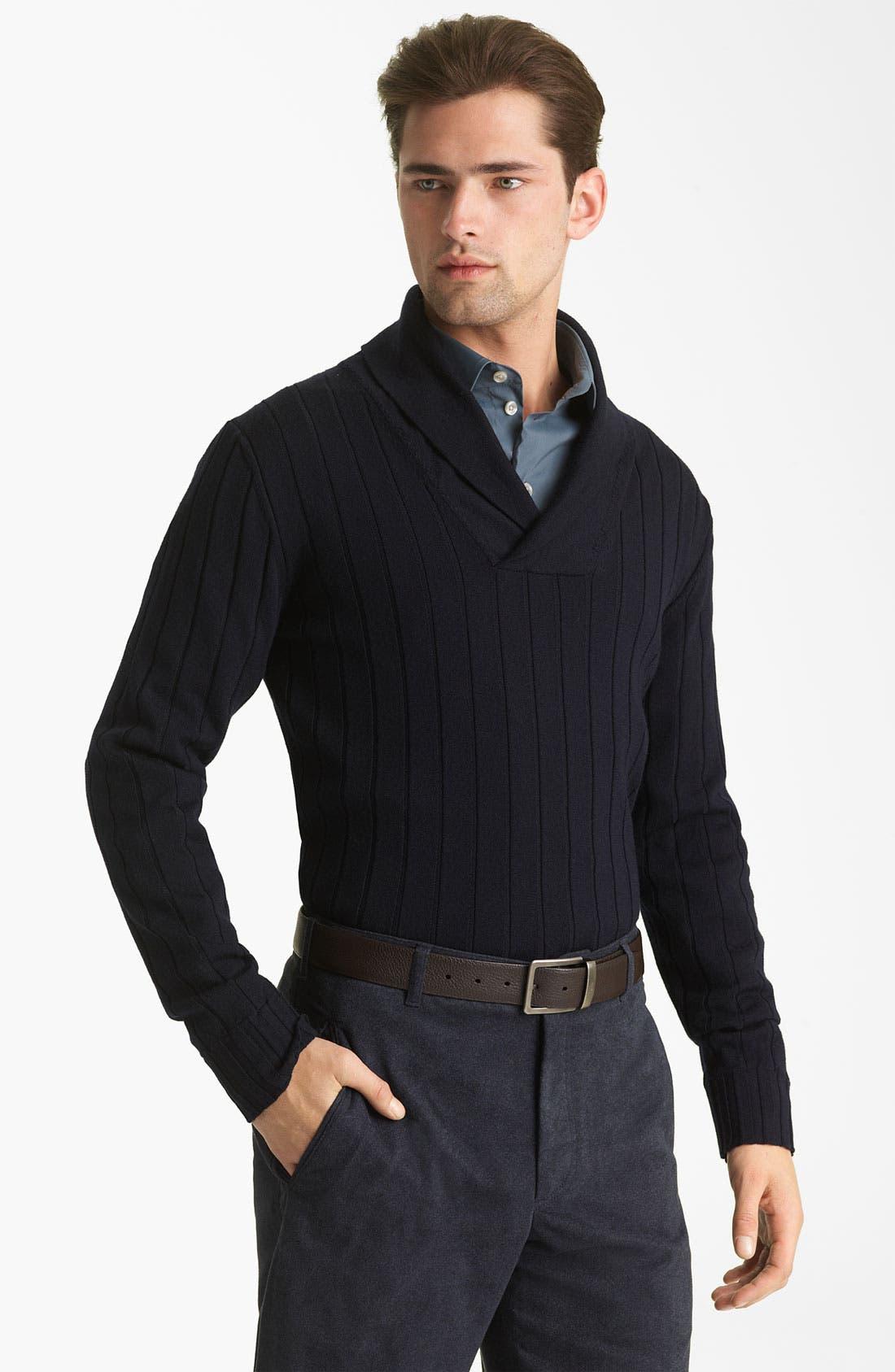 Alternate Image 1 Selected - Armani Collezioni Wool Shawl Collar Sweater