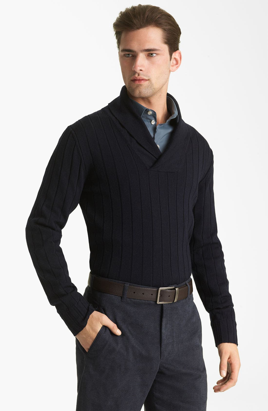Main Image - Armani Collezioni Wool Shawl Collar Sweater