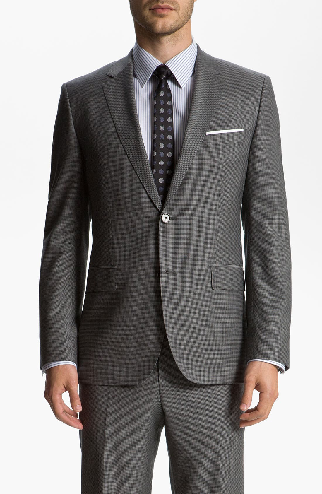 Alternate Image 1 Selected - BOSS Black 'James/Sharp' Trim Fit Neat Check Suit