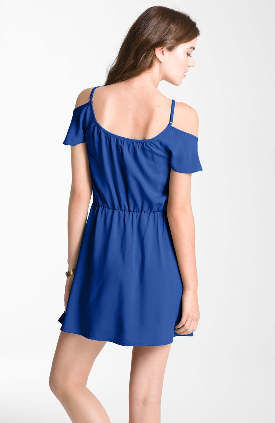 Alternate Image 2  - Mimi Chica Ruffle Cold Shoulder Dress (Juniors)