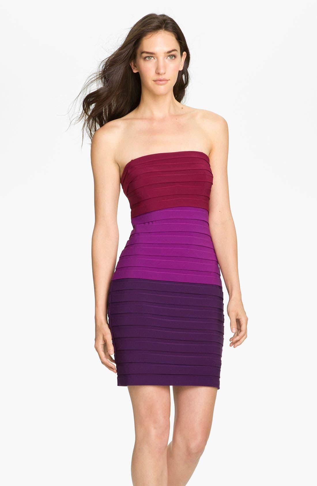 Alternate Image 1 Selected - Max & Cleo 'Suzy' Strapless Shutter Pleat Jersey Sheath Dress