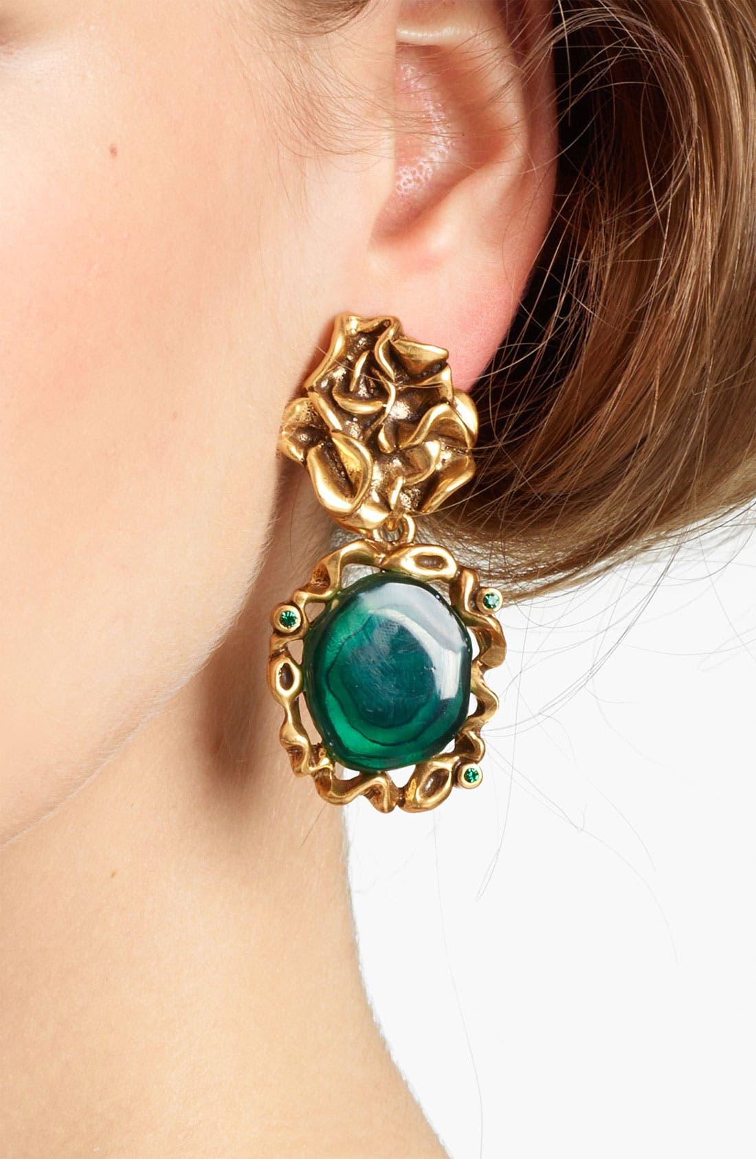 Alternate Image 2  - Oscar de la Renta Ruffle Motif & Geode Drop Earrings