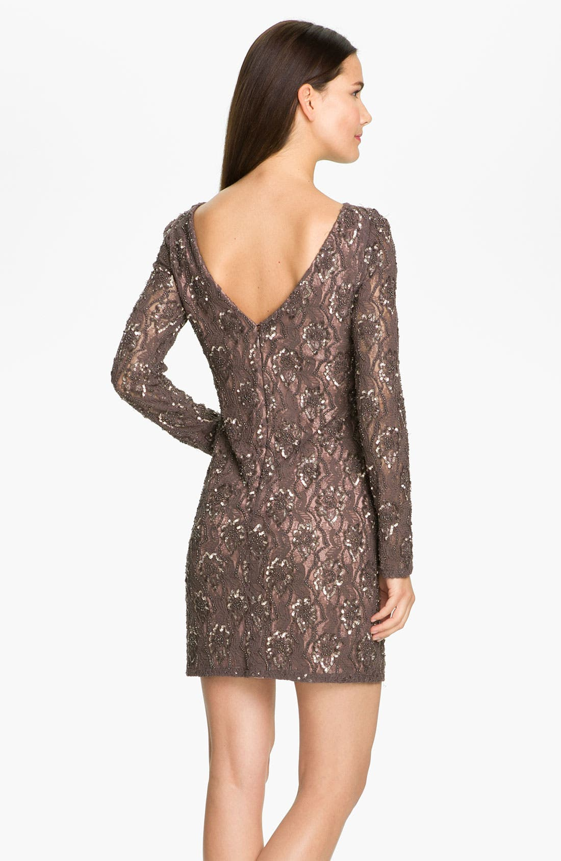Alternate Image 2  - Aidan Mattox V-Back Embellished Lace Sheath Dress