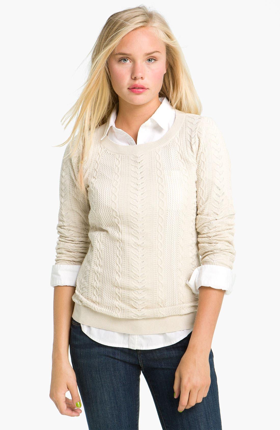Main Image - BP. Sheer Cable Knit Sweater (Juniors)