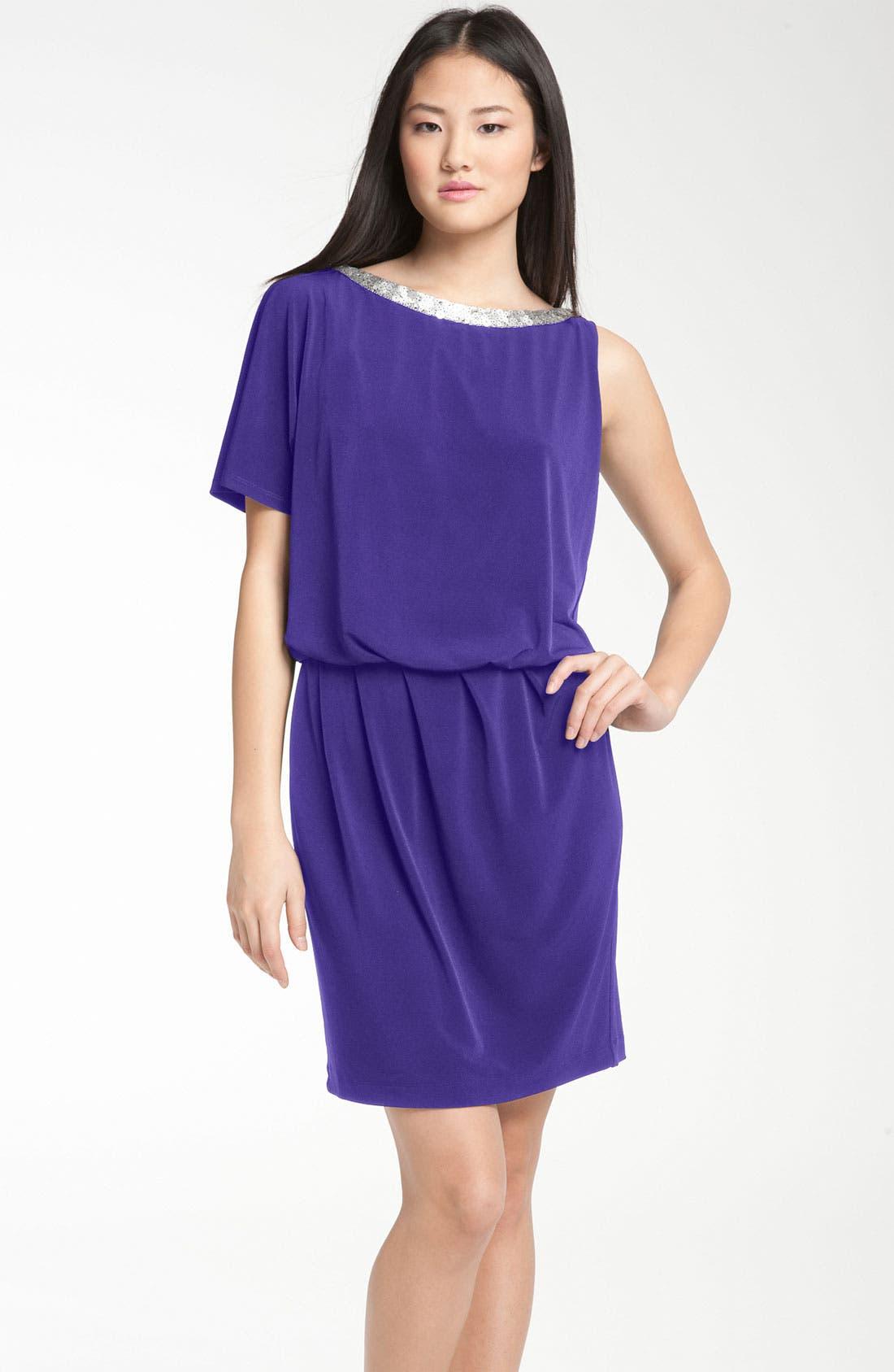 Main Image - Donna Ricco Asymmetrical Jersey Blouson Dress