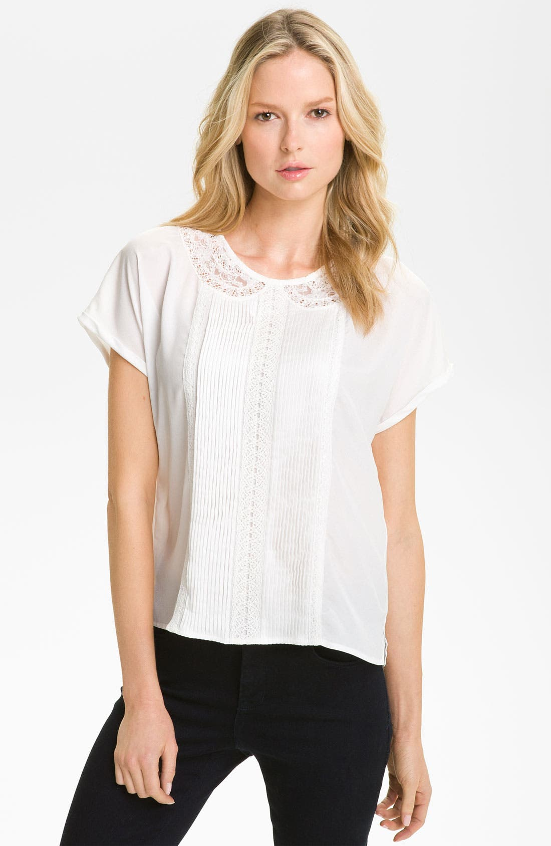 Alternate Image 1 Selected - Gianetta Lace & Pleat Trim Blouse (Petite)