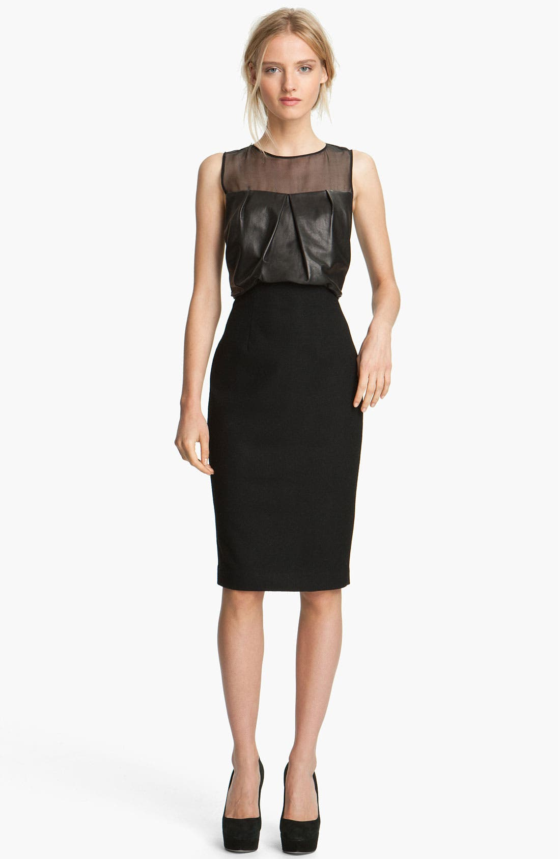 Alternate Image 1 Selected - L'AGENCE Draped Leather Dress