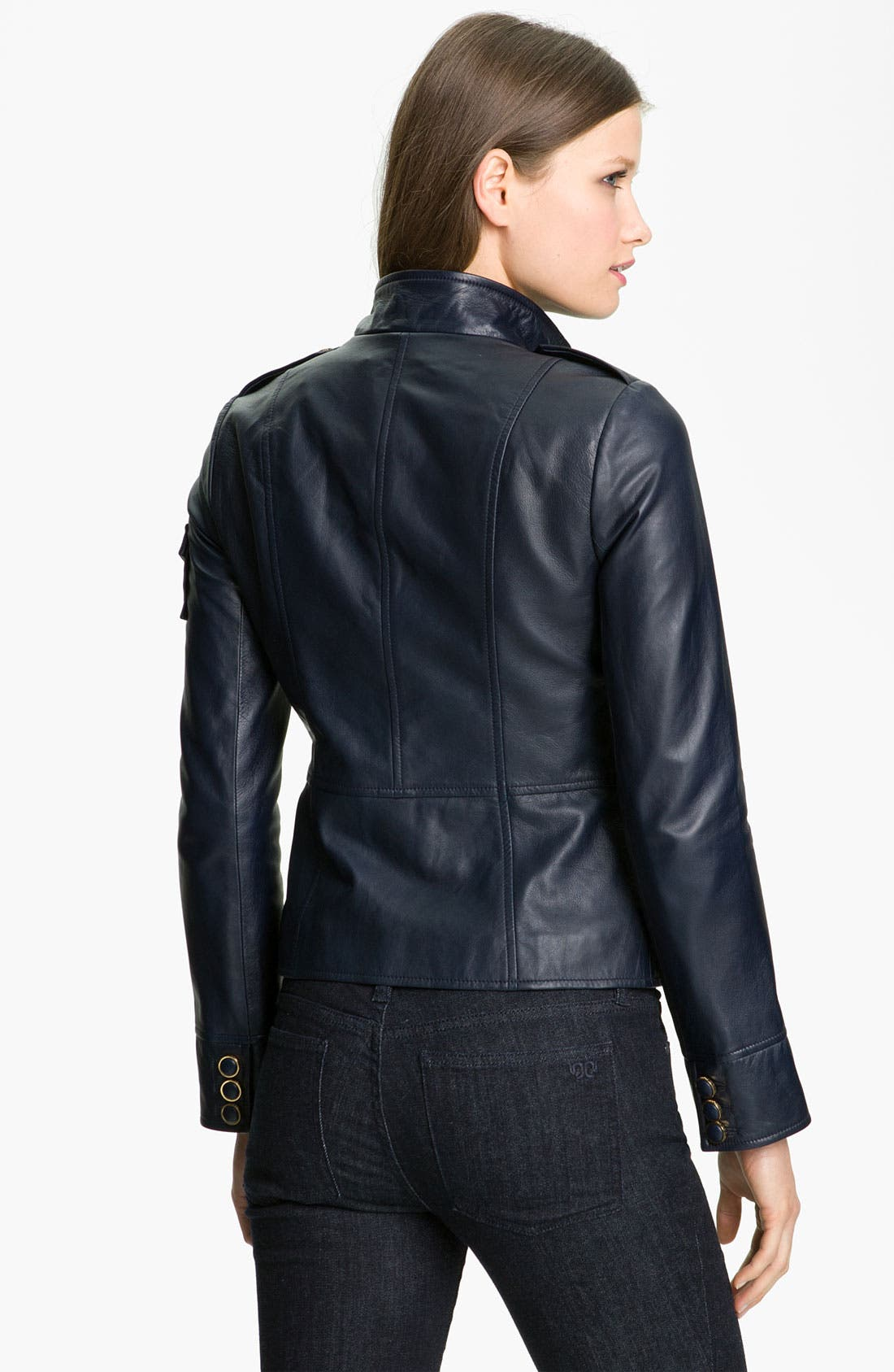 Alternate Image 2  - Tory Burch Crop Leather Jacket