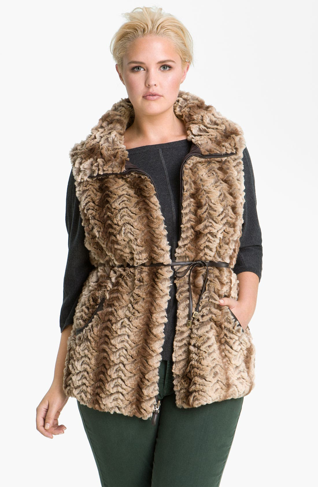 Main Image - Gallery Reversible Faux Fur Vest (Plus)
