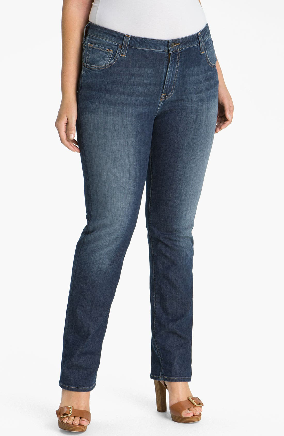 Alternate Image 1 Selected - Lucky Brand 'Ginger' Straight Leg Jeans (Plus Size)
