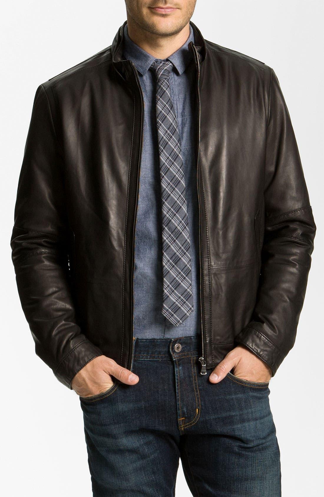 Alternate Image 1 Selected - BOSS Black 'Nekun' Leather Jacket