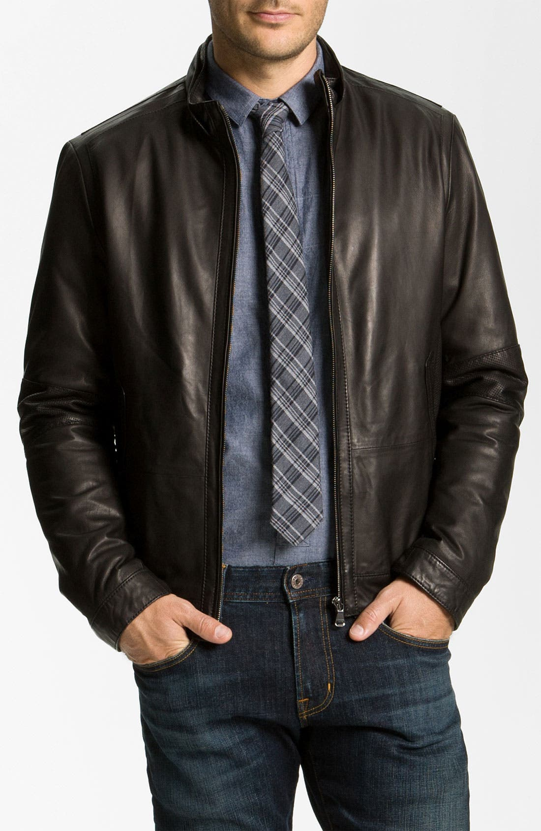Main Image - BOSS Black 'Nekun' Leather Jacket