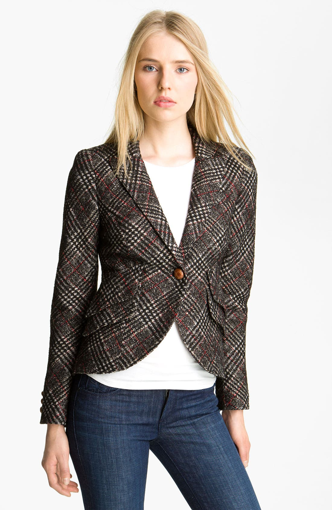 Alternate Image 1 Selected - Smythe Leather Patch Plaid Jacket