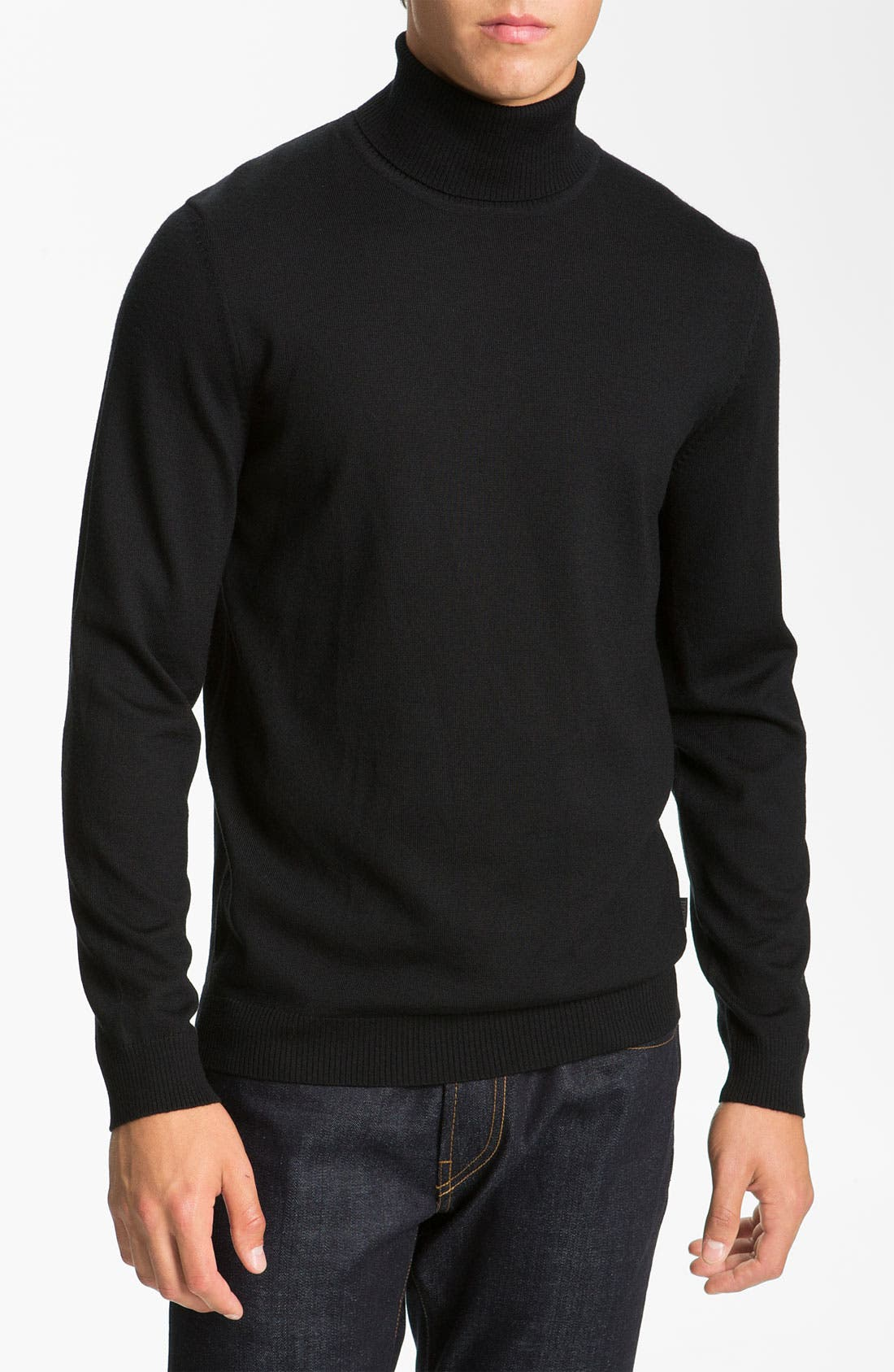 Alternate Image 1 Selected - BOSS Black Slim Fit Wool Turtleneck