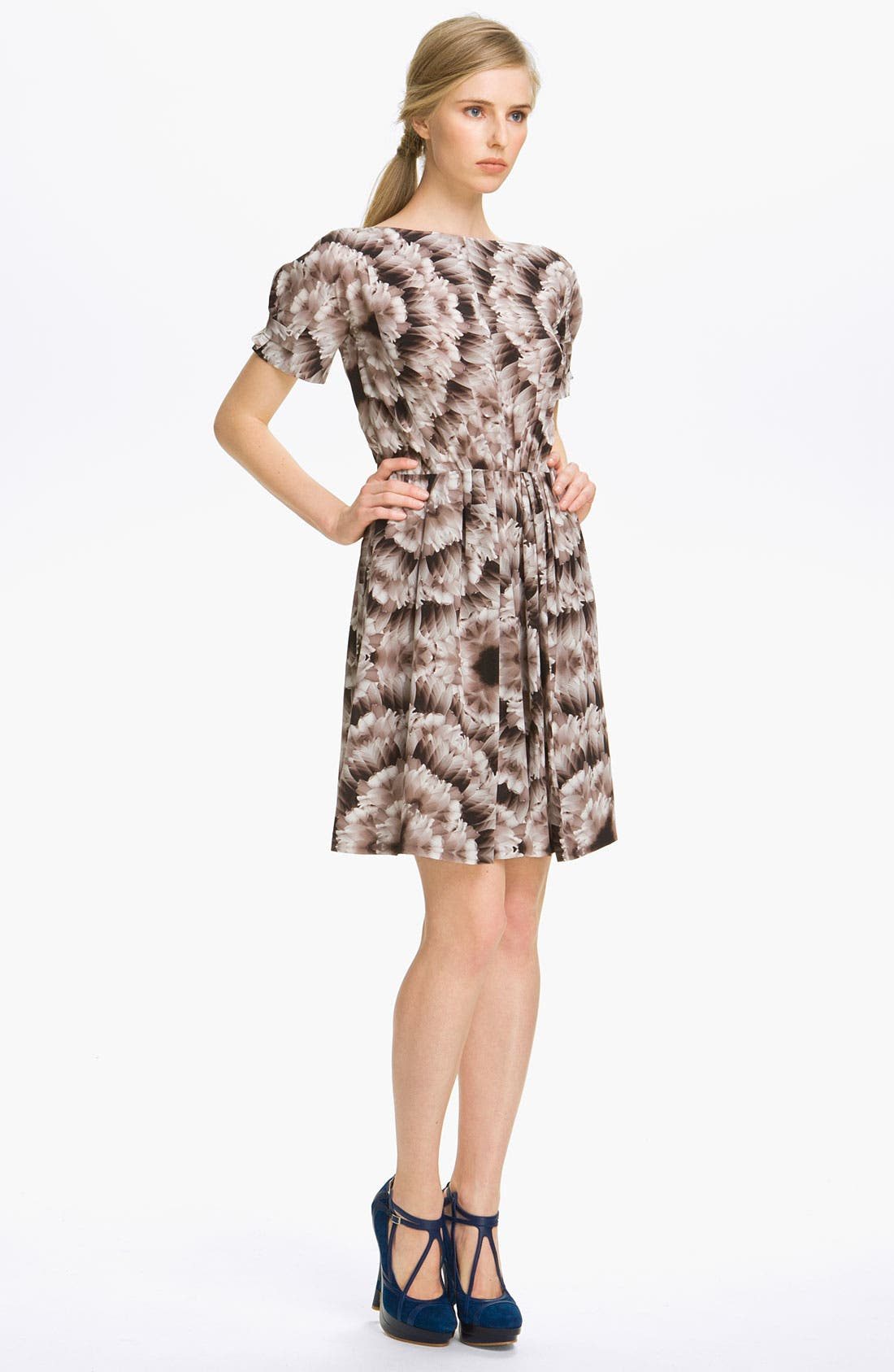 Alternate Image 1 Selected - Cacharel Feather Print Silk Dress
