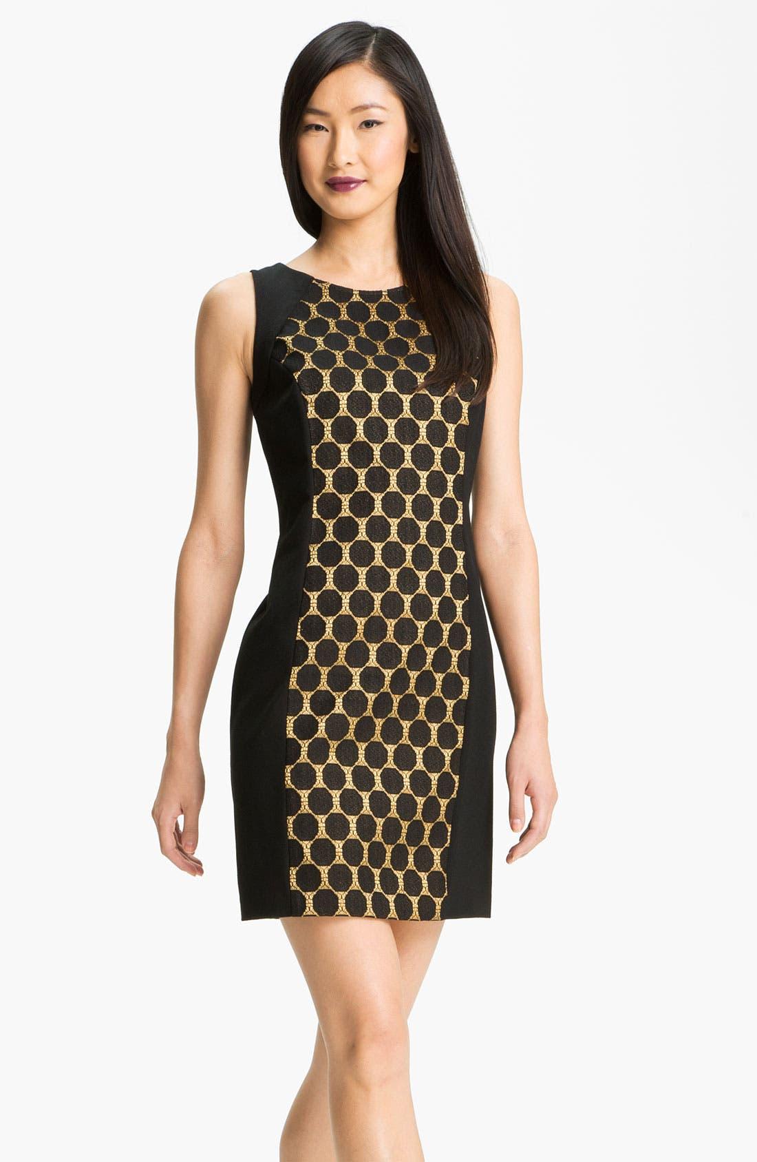 Alternate Image 1 Selected - Donna Ricco Jacquard Panel Ponte Sheath Dress
