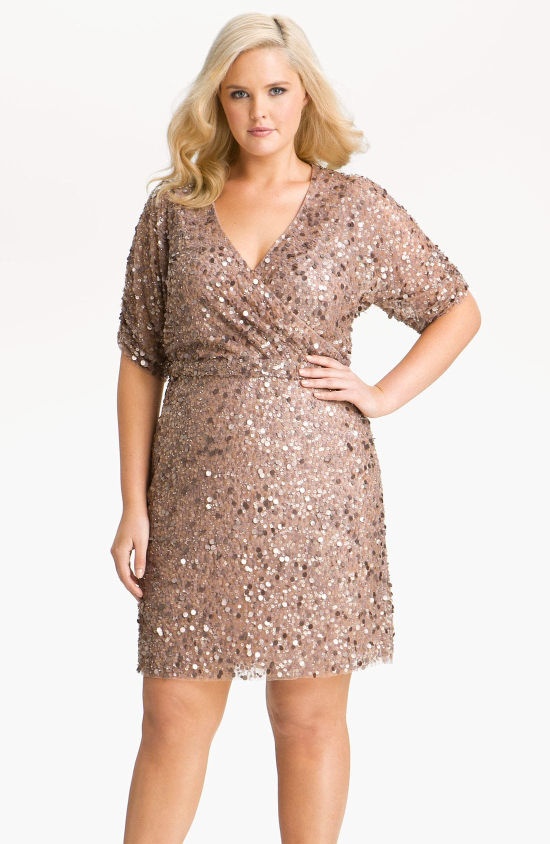 Main Image - Aidan Mattox Sequin Surplice Mesh Dress (Plus)