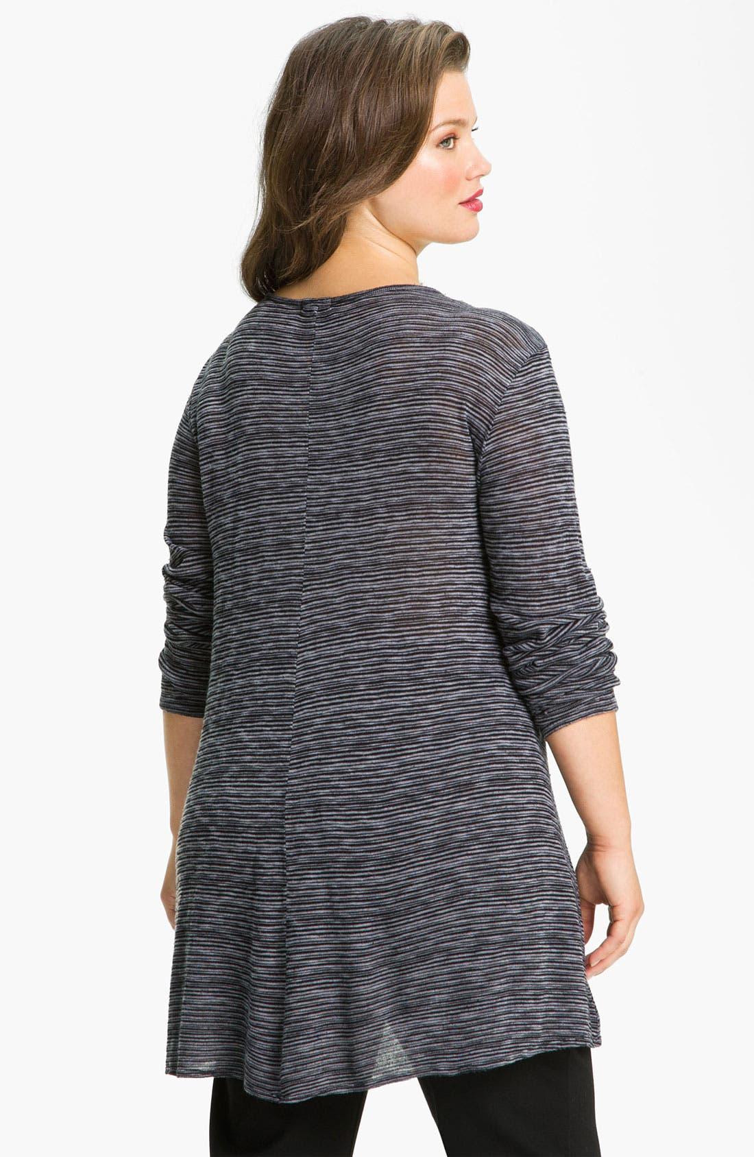 Alternate Image 2  - Allen Allen Sweater Stripe Asymmetric Tee (Plus)