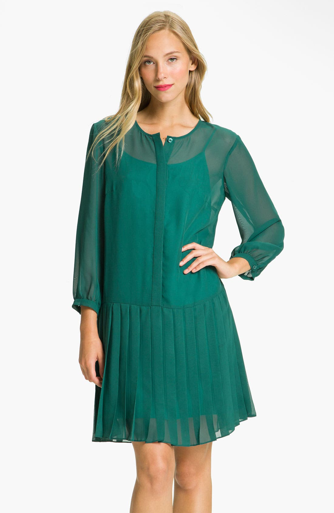 Main Image - Donna Morgan Drop Waist Chiffon Blouson Dress