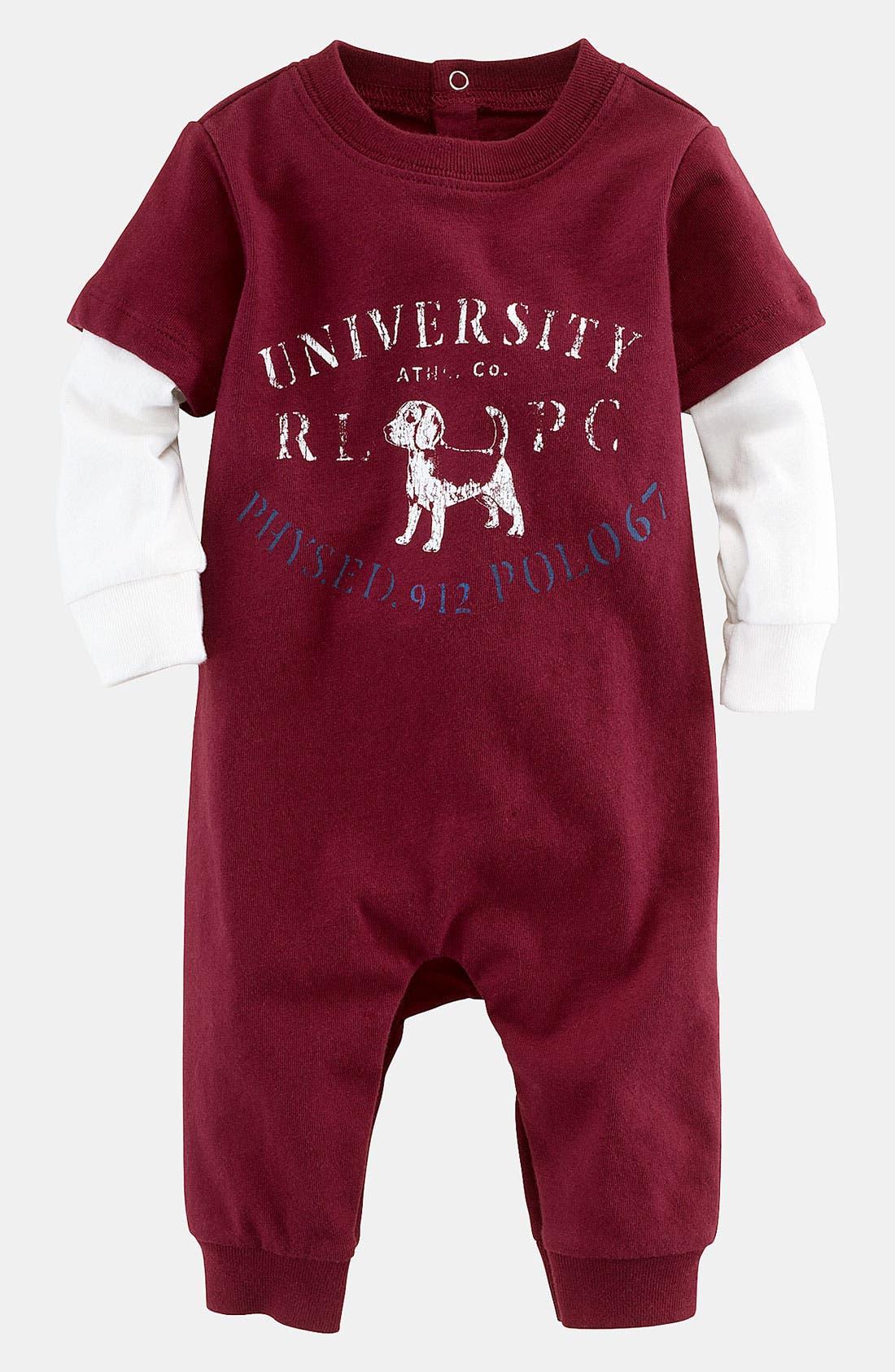 Alternate Image 1 Selected - Ralph Lauren Romper (Infant)