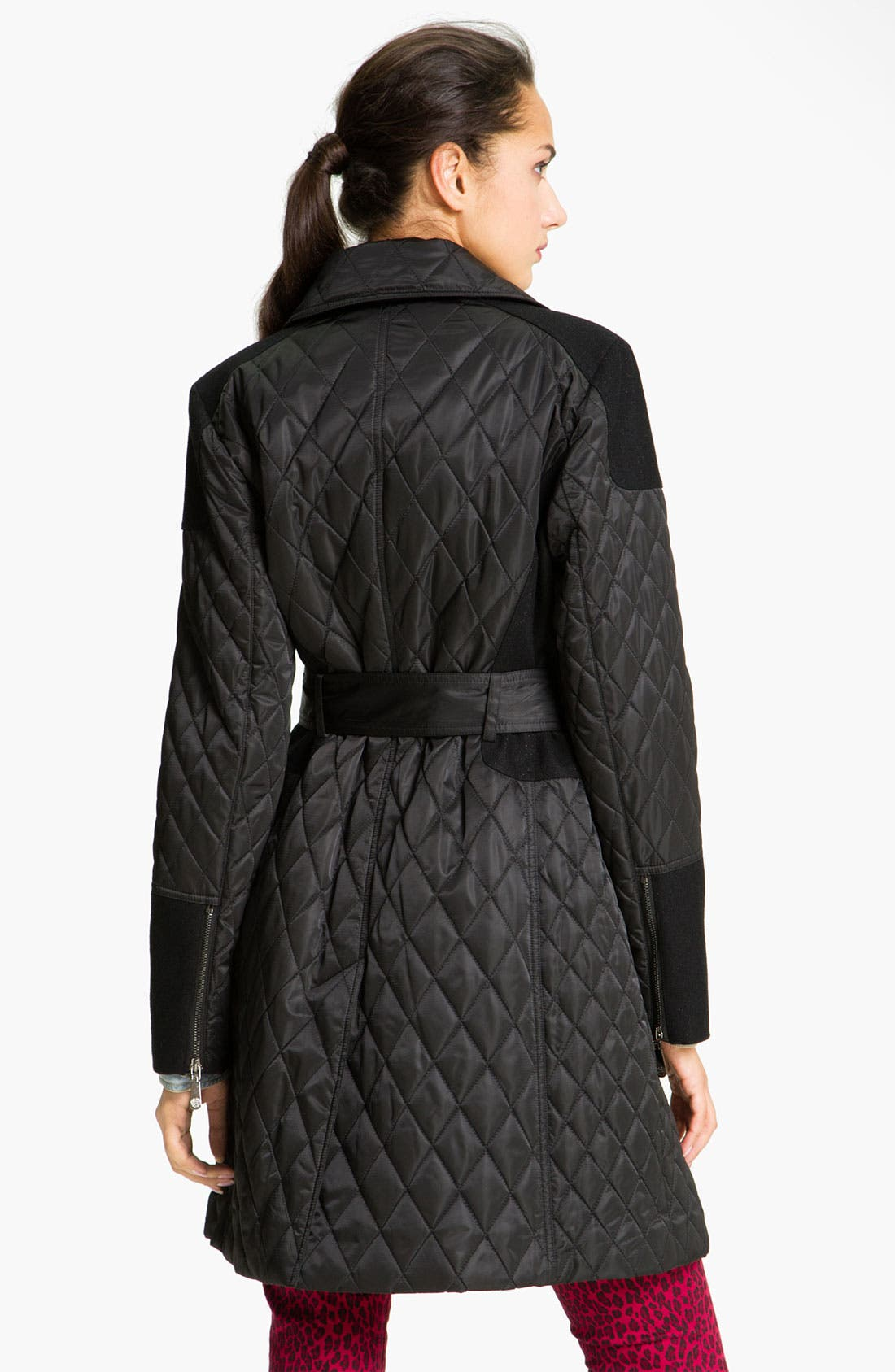 Alternate Image 2  - Vince Camuto Mixed Media Quilted Trench Coat