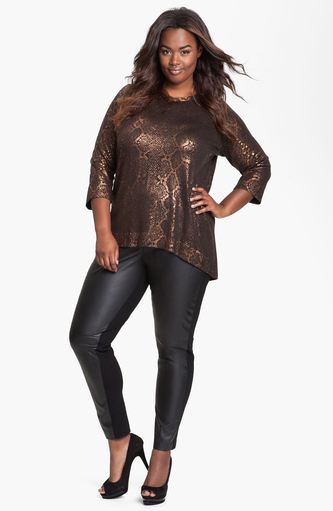 Alternate Image 4  - Two by Vince Camuto Faux Leather & Knit Leggings (Plus)