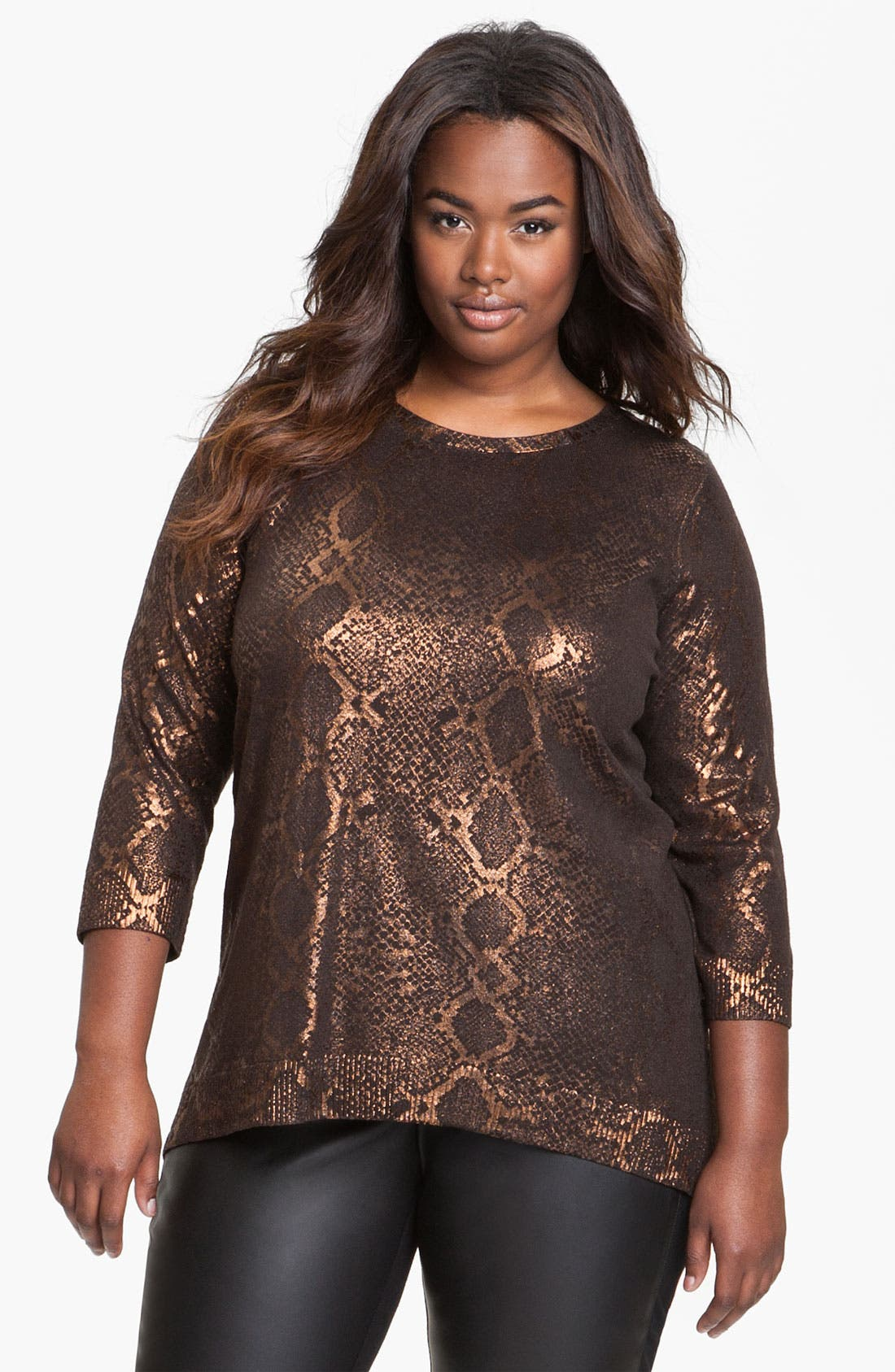 Main Image - Sejour Weekend Snake Foil Print Sweater (Plus)