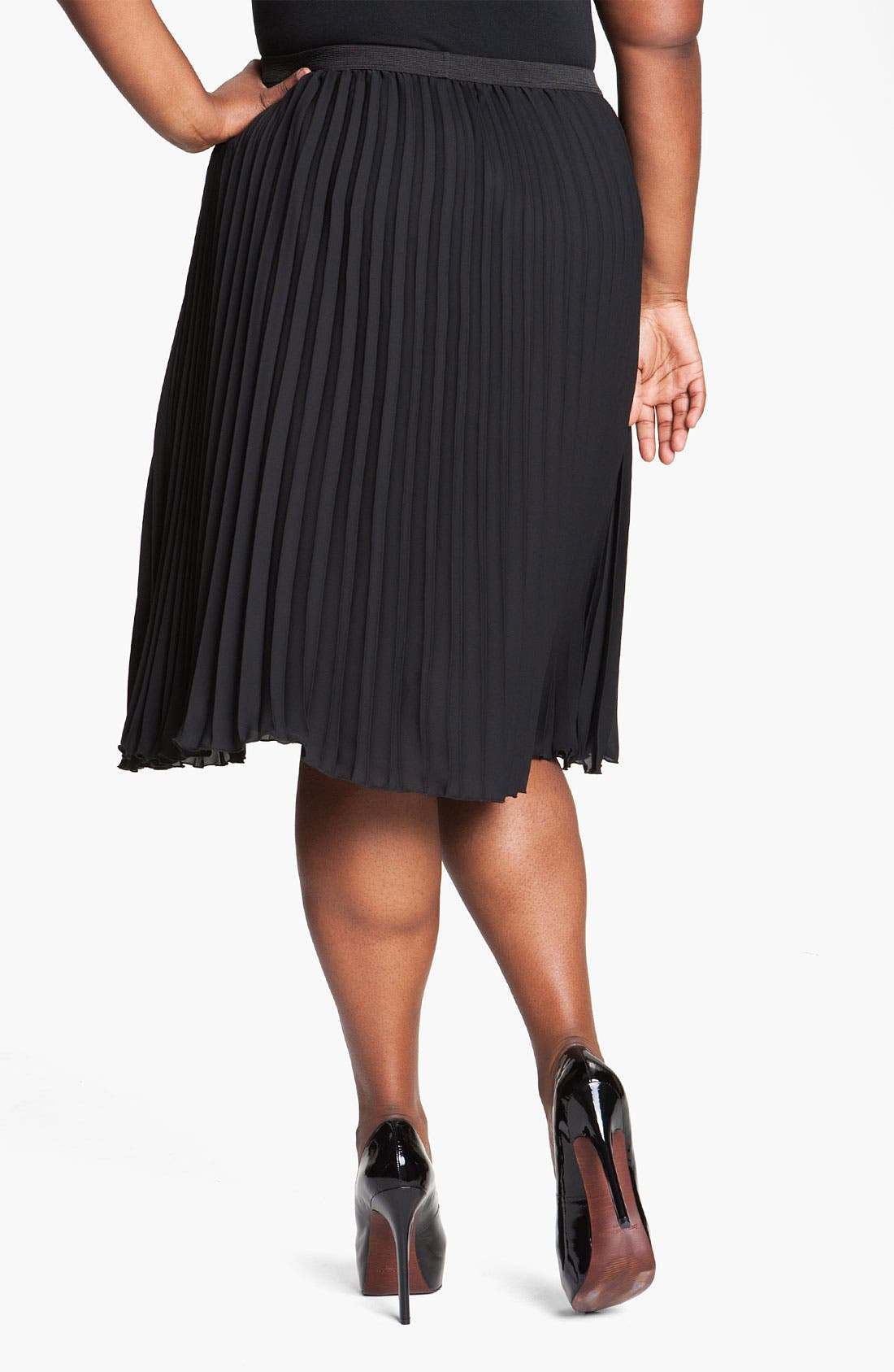 Alternate Image 2  - Vince Camuto Pleated Midi Skirt (Plus)