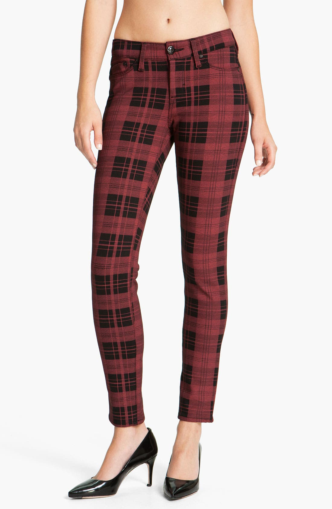 Alternate Image 2  - Dylan George Plaid Skinny Pants (Red/Black Plaid)