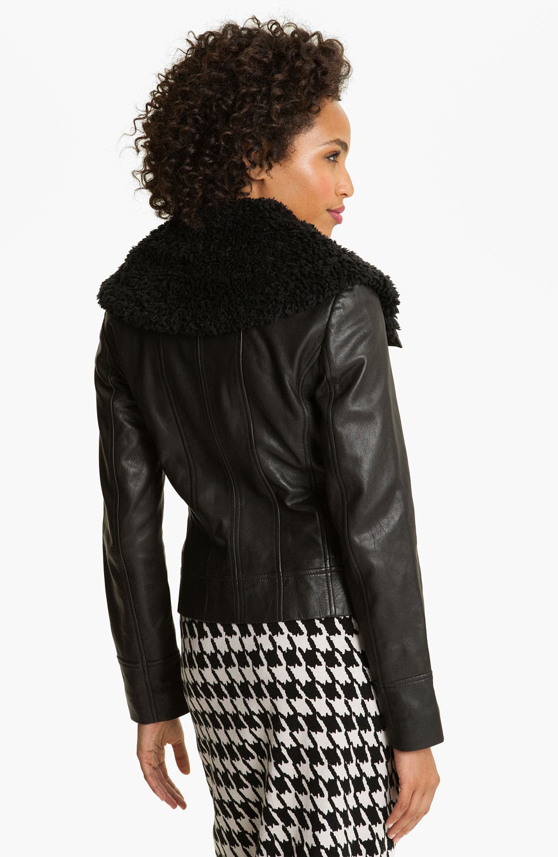 Alternate Image 2  - Caslon® Zip Front Leather Jacket