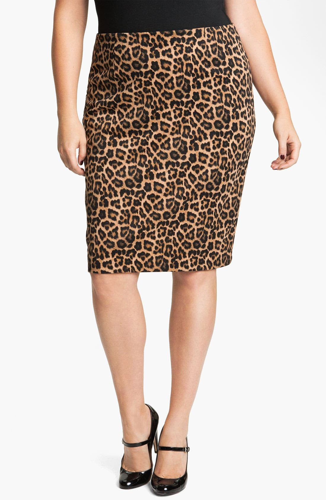 Alternate Image 1 Selected - MICHAEL Michael Kors Jaguar Print Ponte Skirt (Plus)