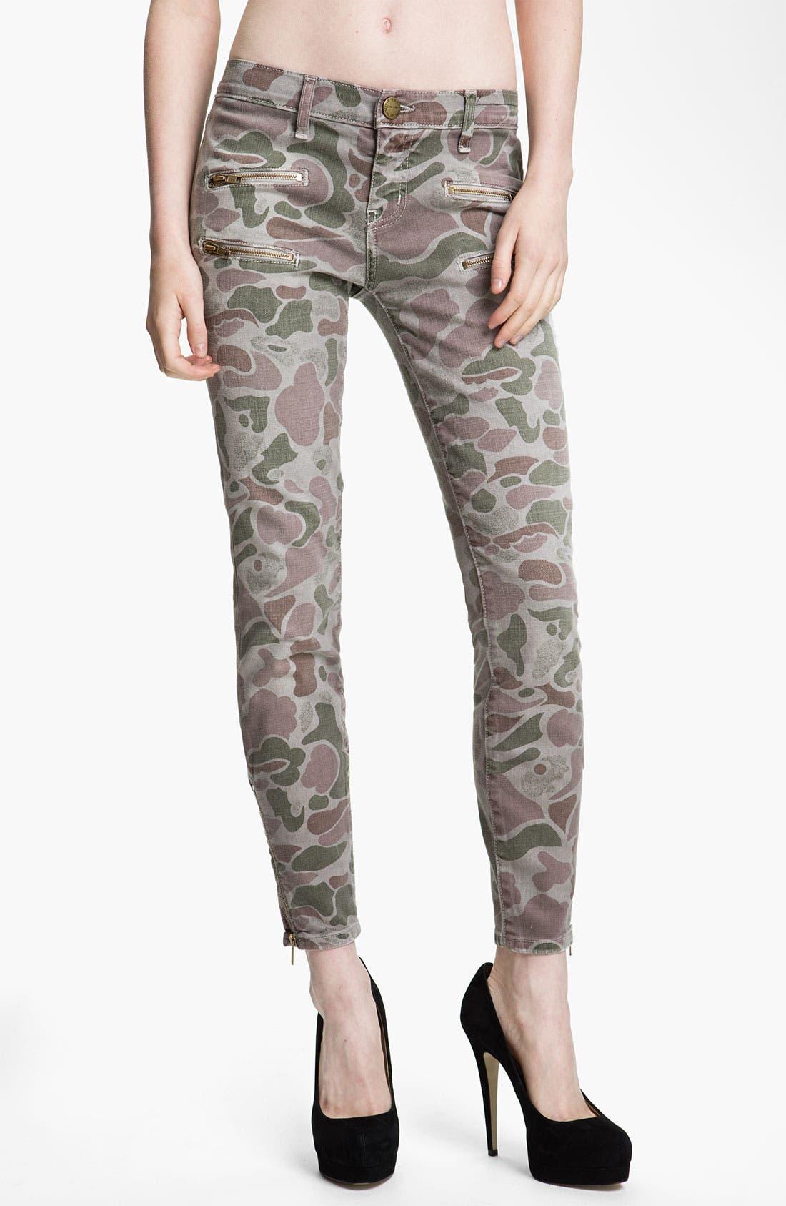 Main Image - Current/Elliott Zip Skinny Jeans (Grey Camo)