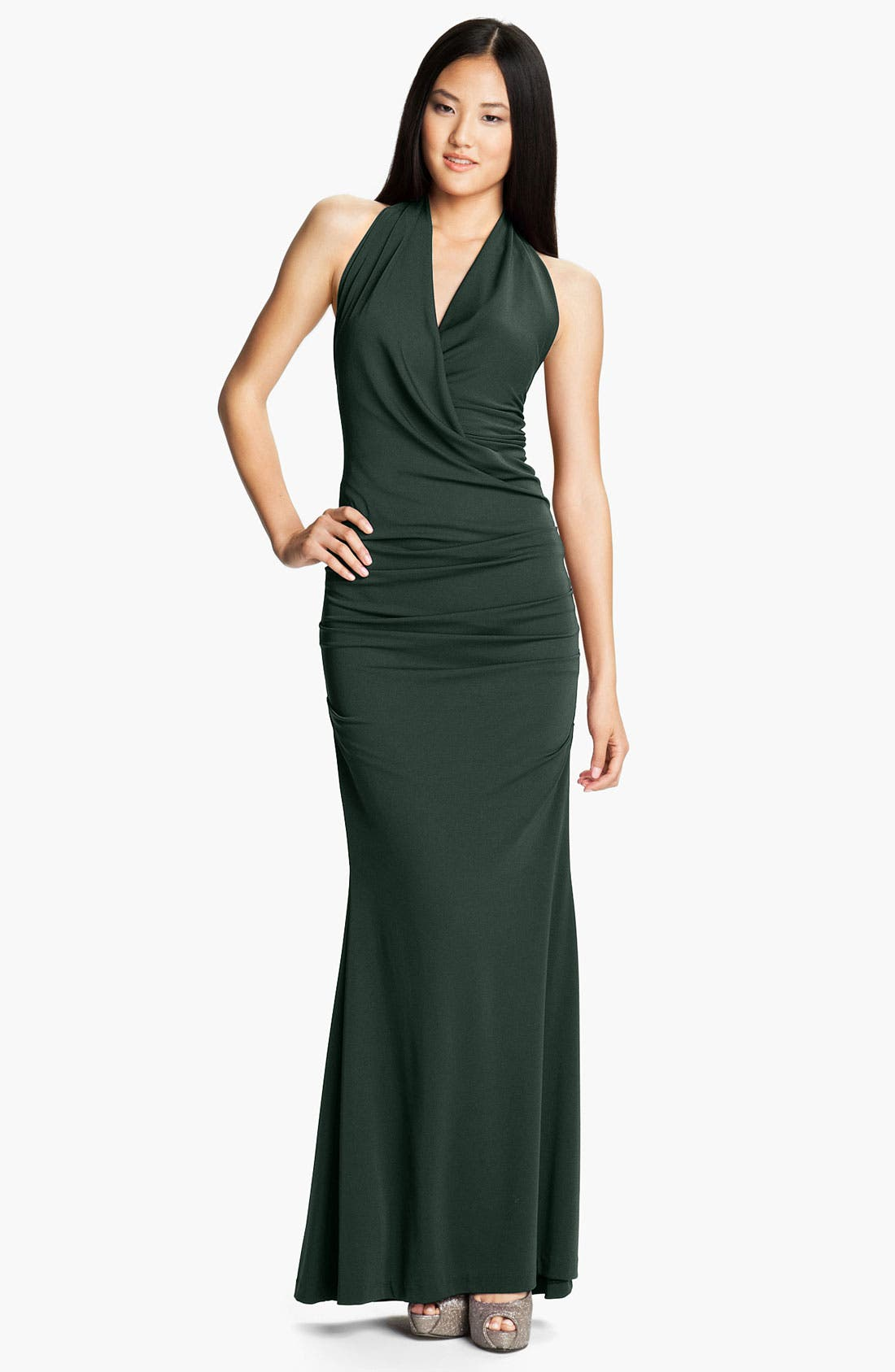 Alternate Image 1 Selected - Nicole Miller Ruched Jersey Trumpet Gown