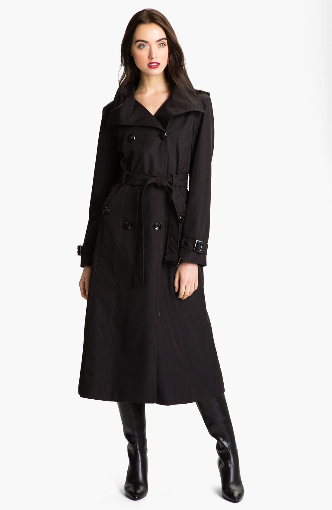 Alternate Image 1  - Ellen Tracy Long Trench with Detachable Hood