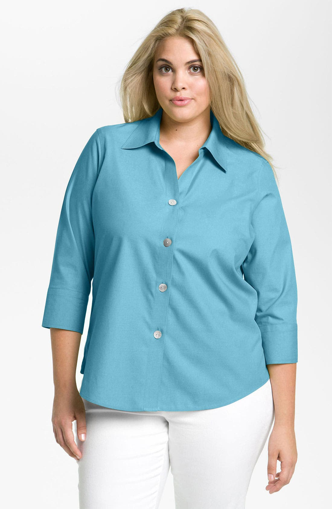 Alternate Image 1 Selected - Foxcroft Shaped Fit Shirt (Plus)