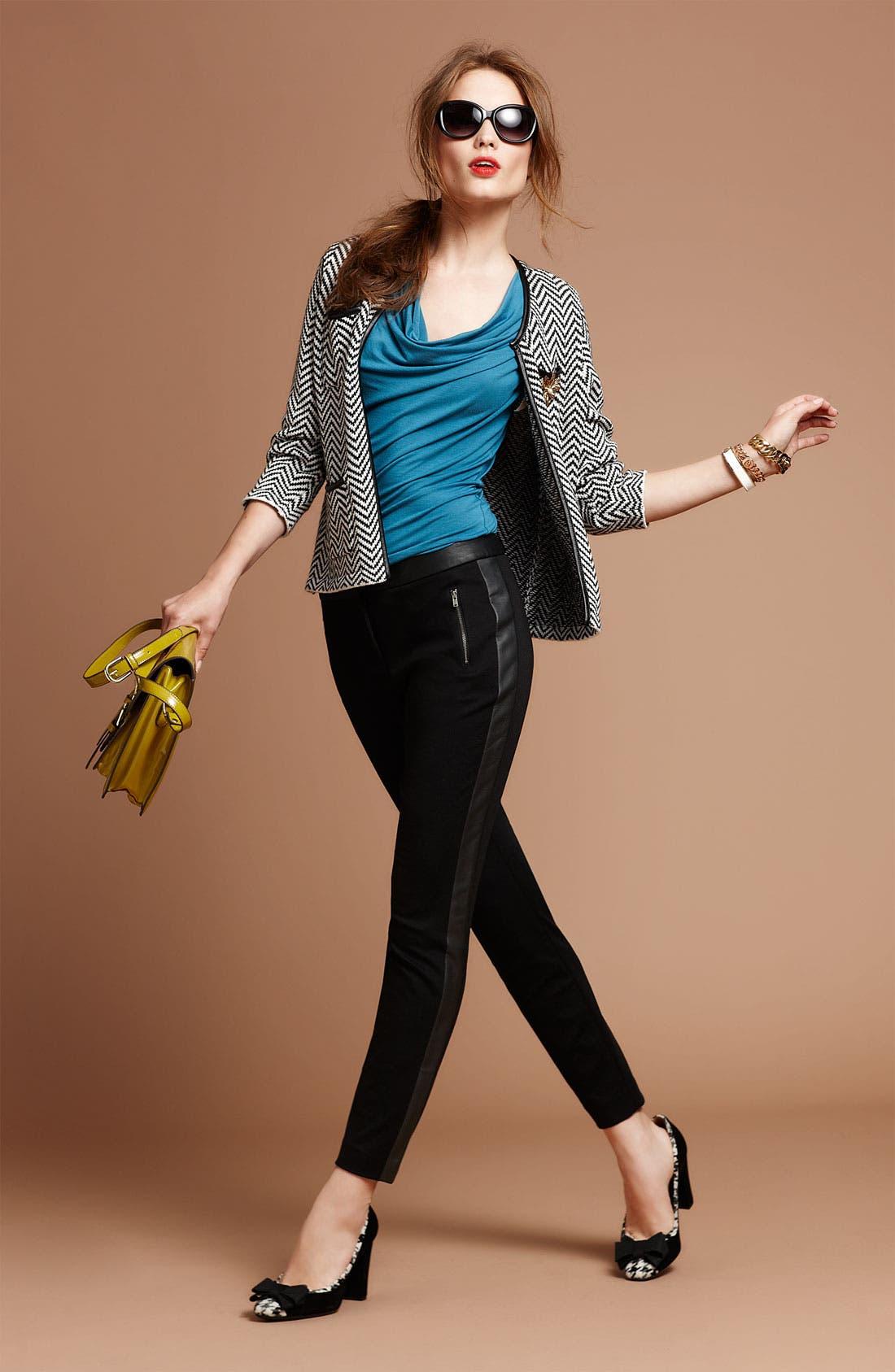 Alternate Image 4  - Halogen® Faux Leather Trim Herringbone Sweater Jacket