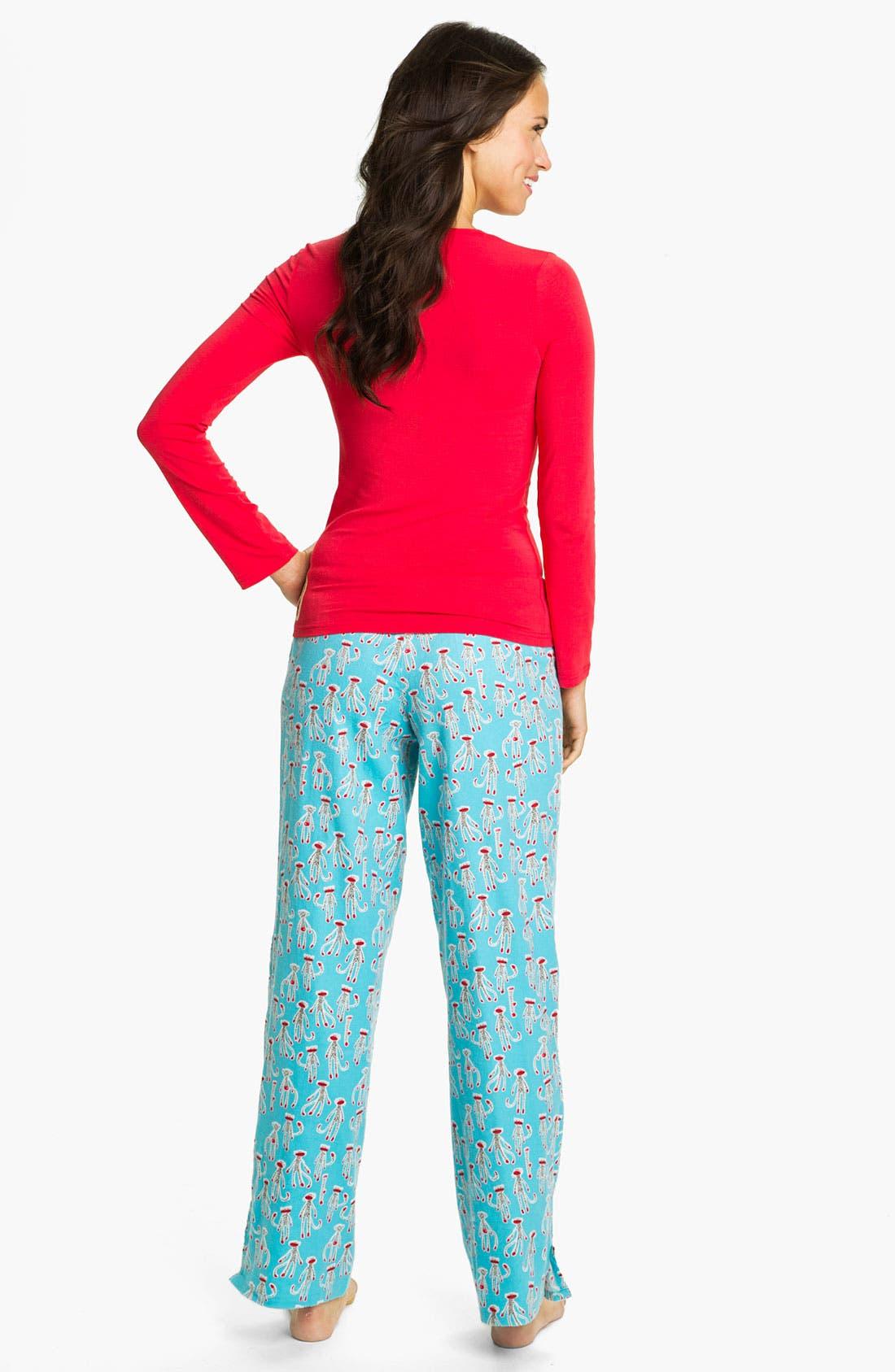 Alternate Image 2  - Munki Munki Knit & Flannel Pajamas