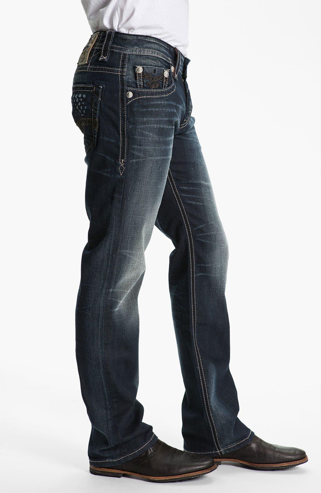 Alternate Image 3  - Rock Revival 'Allen' Straight Leg Jeans (Dark Blue)