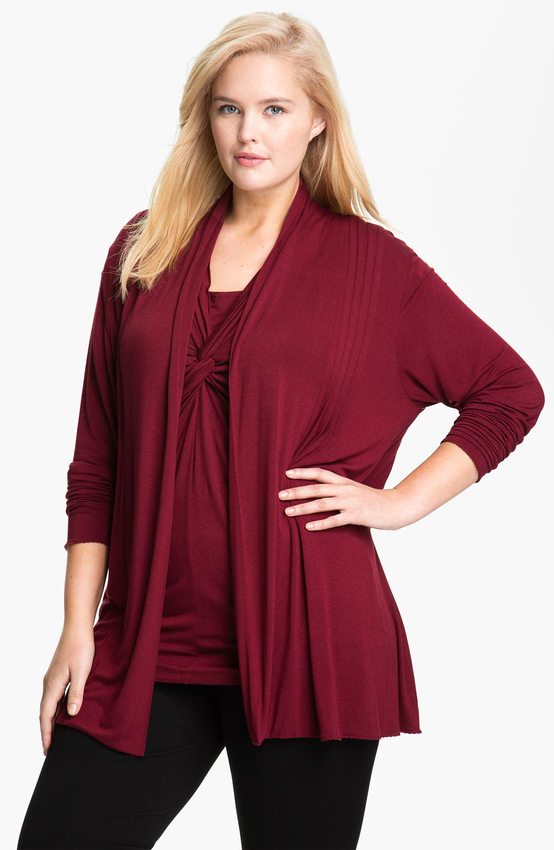 Alternate Image 1 Selected - Kische Open Front Cardigan (Plus Size)