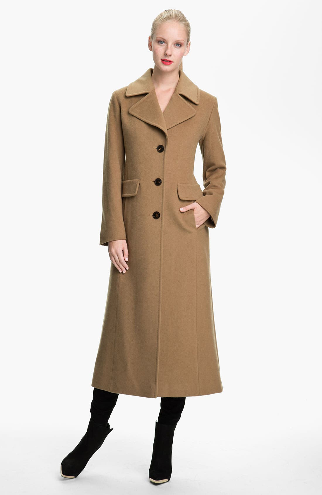 Alternate Image 1 Selected - Fleurette Notch Collar Long Coat (Online Exclusive)