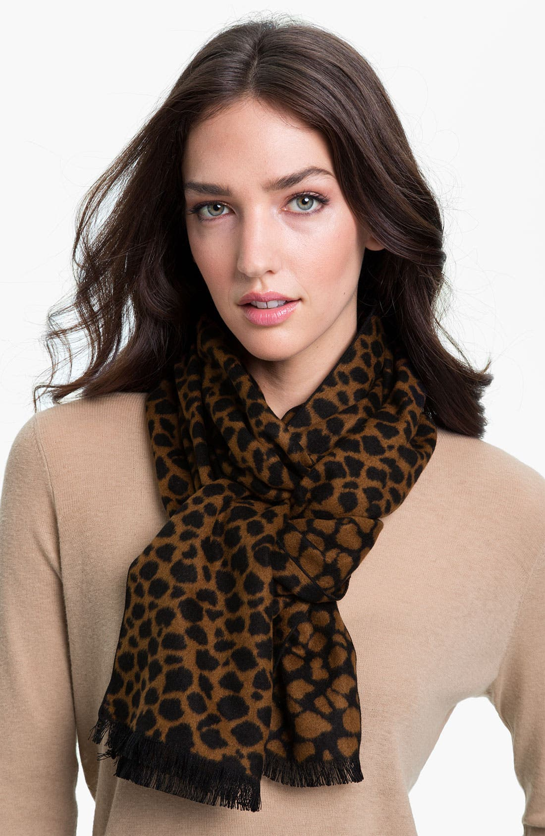Alternate Image 1 Selected - Chelsey Imports Cheetah Print Silk Muffler