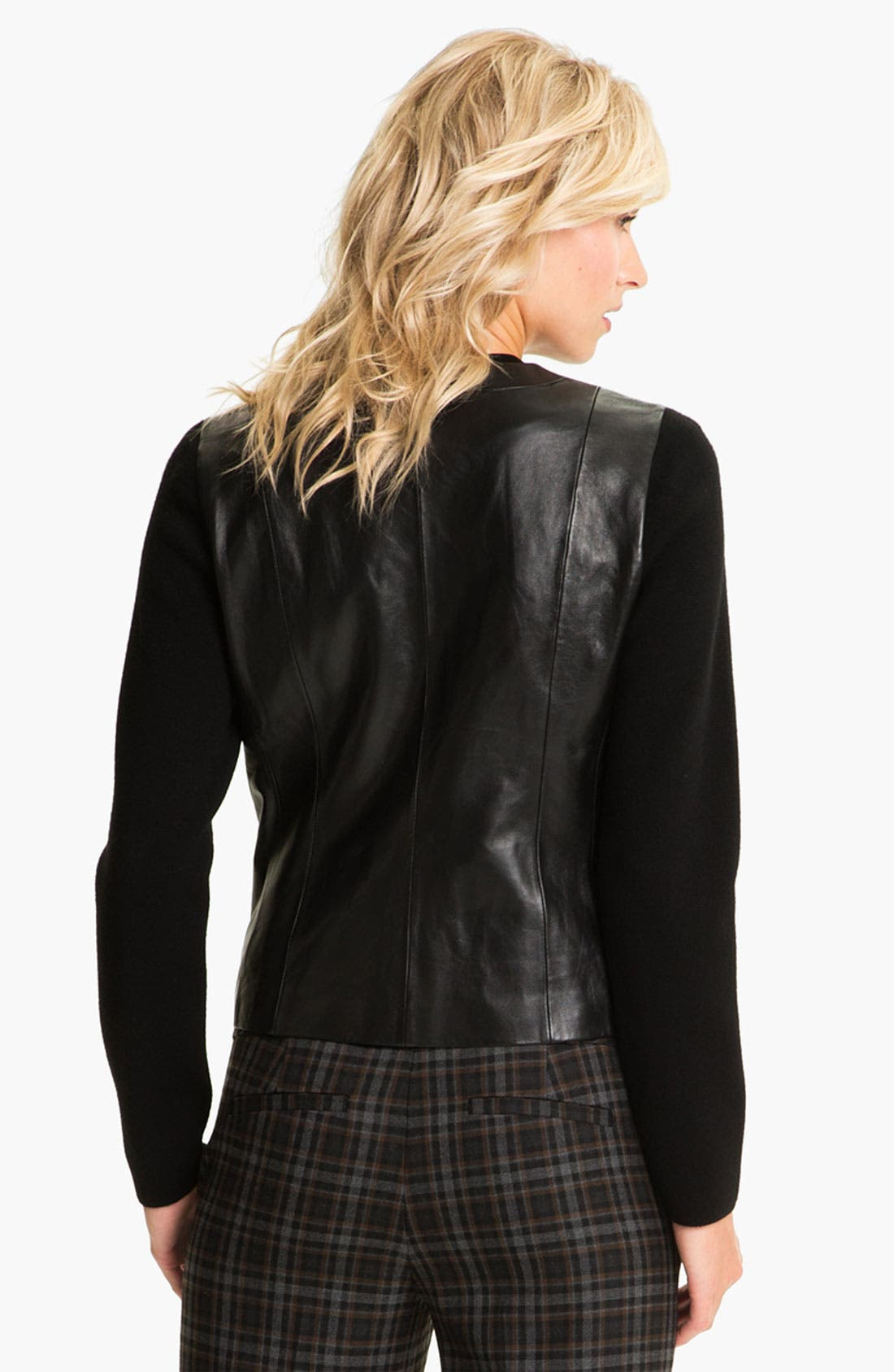 Alternate Image 2  - Classiques Entier® Knit Sleeve Leather Jacket
