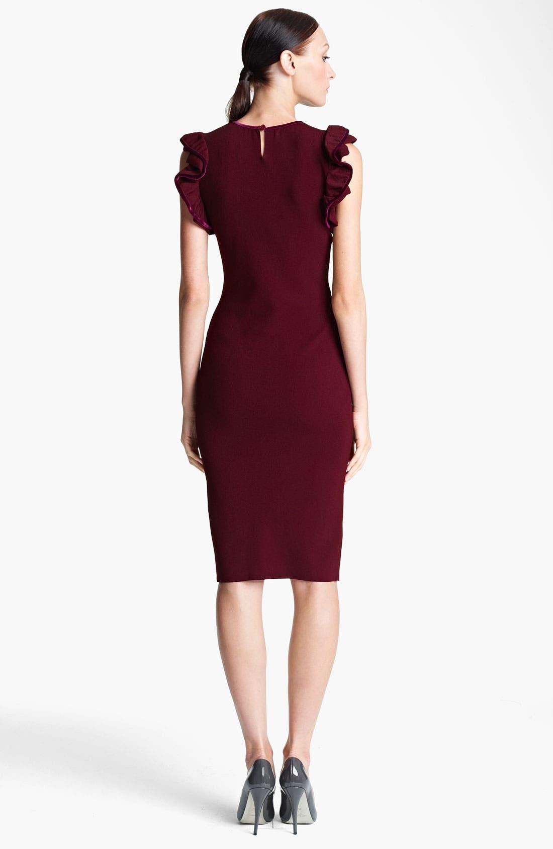 Alternate Image 2  - Valentino Ruffle & Velvet Detail Knit Dress