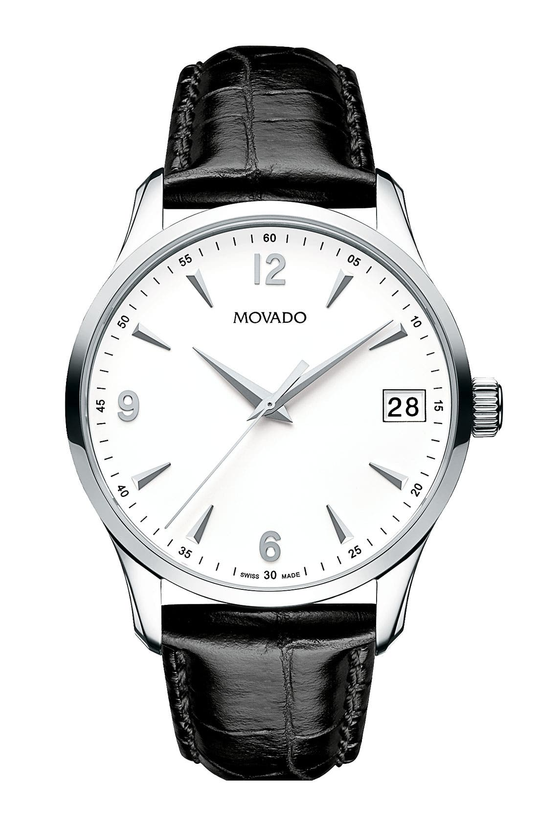 Main Image - Movado 'Circa' Round Leather Strap Watch, 38mm