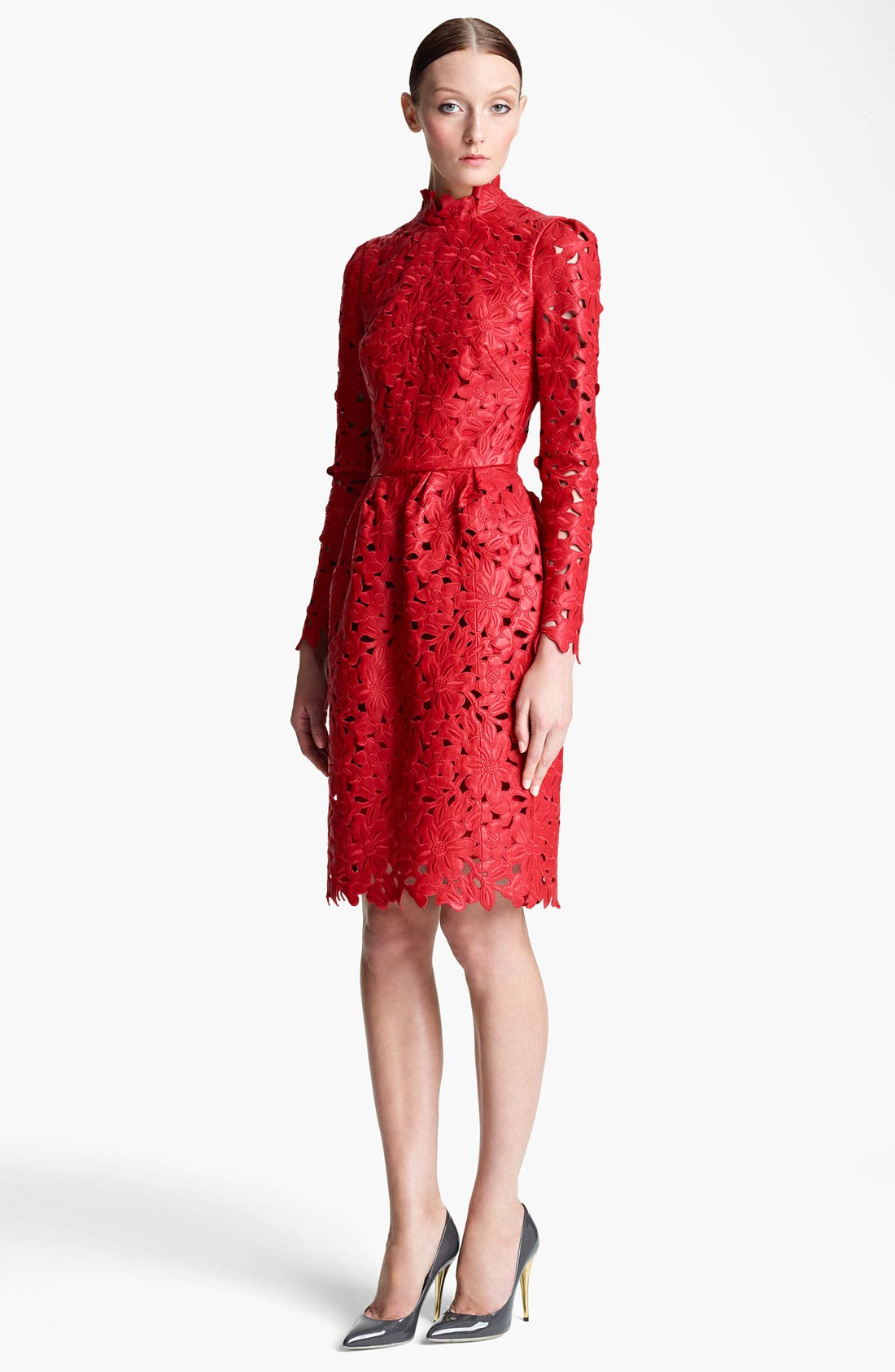 Main Image - Valentino Laser Cut Leather Dress