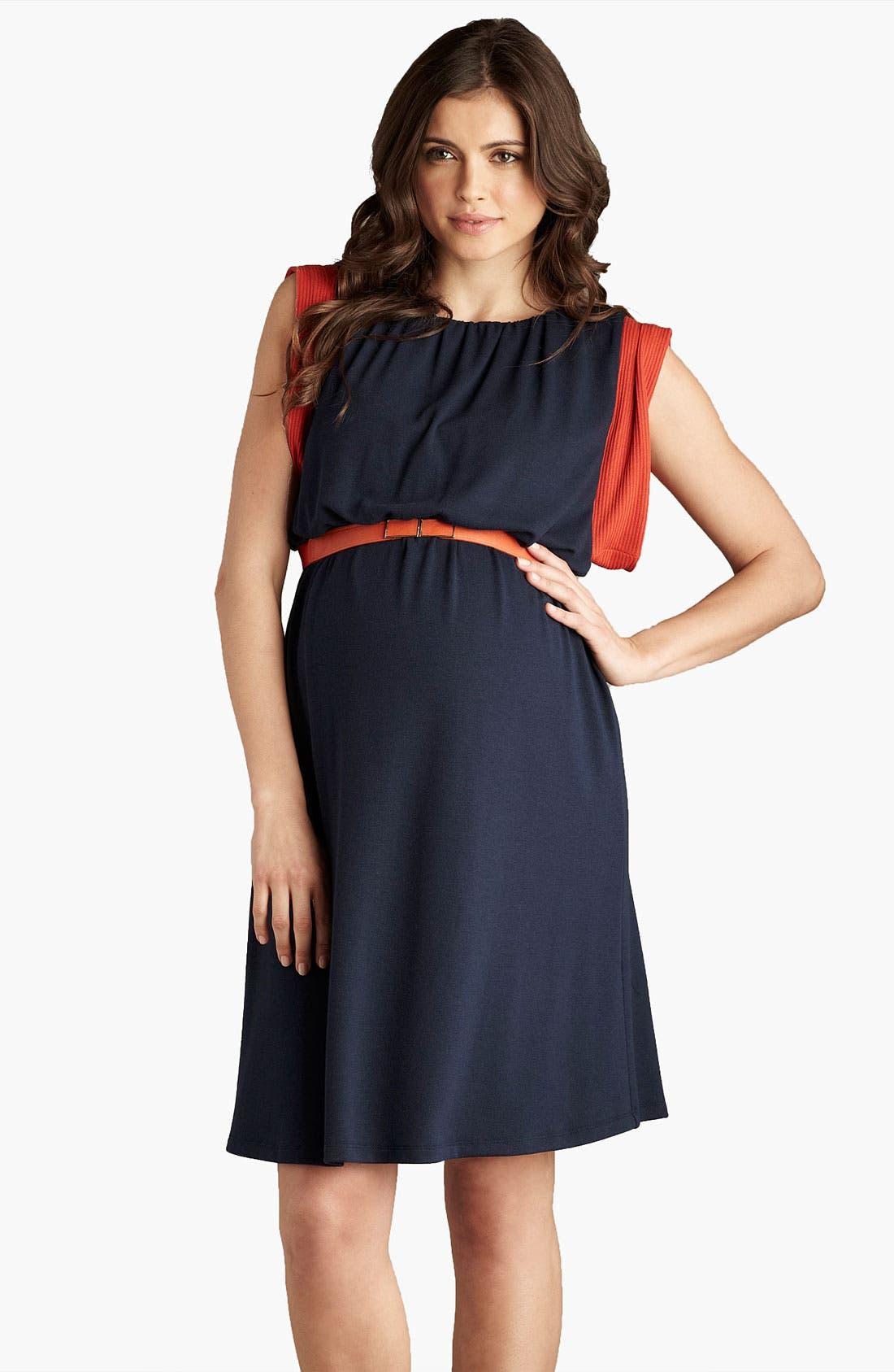Main Image - Maternal America Maternity Belted Knit Dress