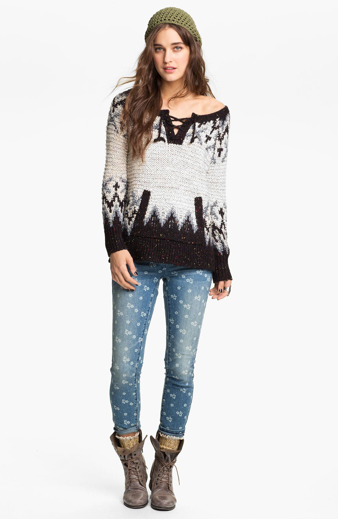 Alternate Image 1 Selected - Free People 'Love Bug' Lace-Up Nordic Sweater