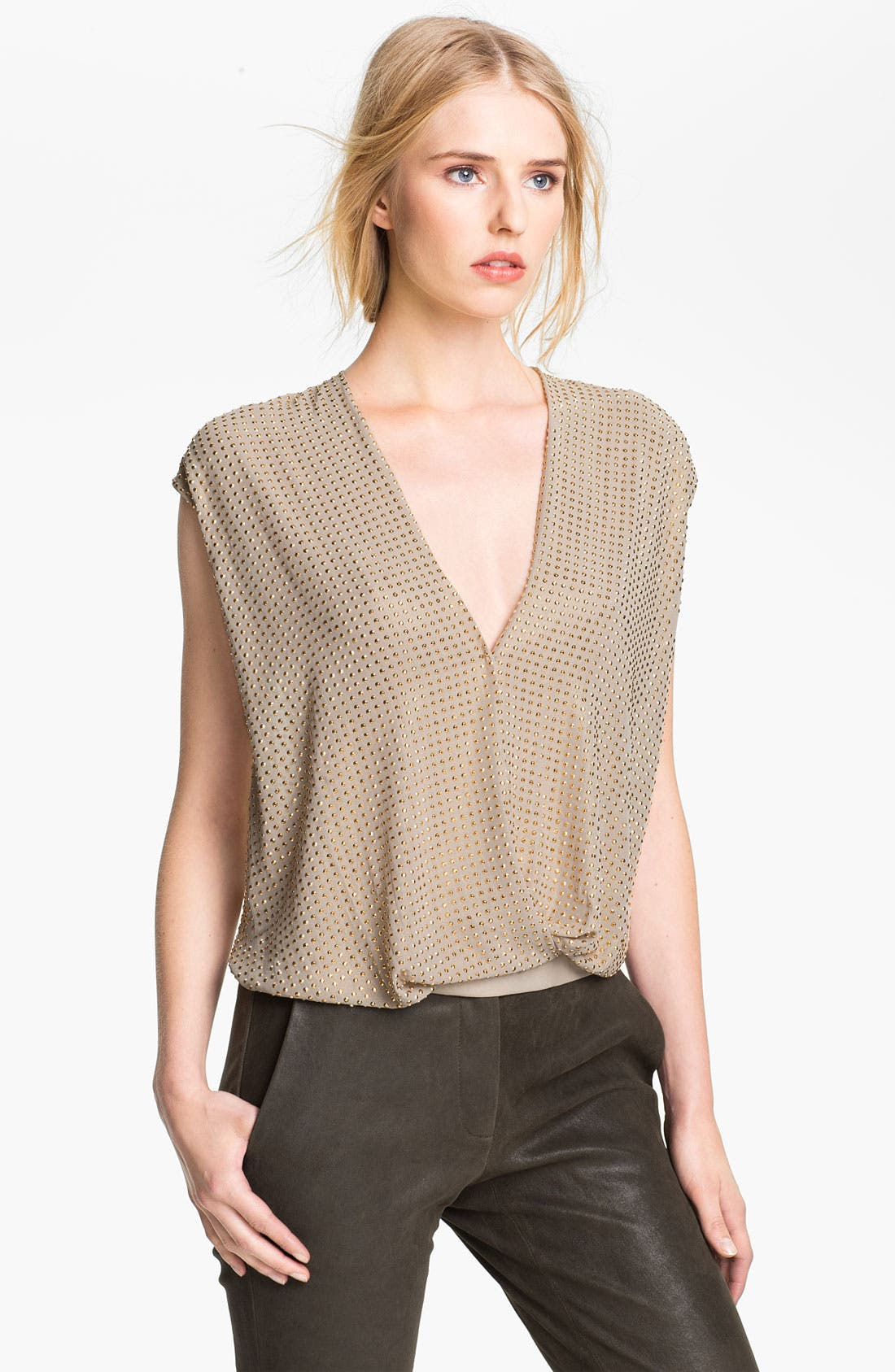 Alternate Image 1 Selected - L'AGENCE Nail Head Foil Chiffon Blouse